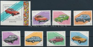 1987 Autók sor + blokk, Cars set + block Mi 1010-1016 + Mi 117