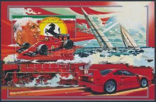 1987 Személyiségek és közlekedési eszközök Enzo Ferrari blokk, Personalities and means of transport block Mi 279