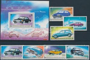 1989 Autók sor + blokk, Cars set + block Mi 2065-2071 + Mi 139