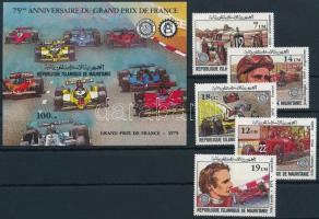 1982 Franciaország Nagydíja sor + blokk, Grand Prix of France set + block Mi 749-753 + Mi 34