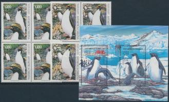 1995 Pingvinek sor négyestömbökben + blokk, Penguin set in blocks of 4 + block Mi 1684-1685 + Mi 32