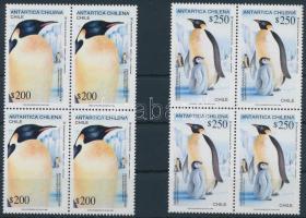 1992 Pingvinek sor négyestömbökben, Penguin set in blocks of 4 Mi 1525-1526