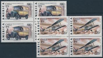 1994 Közlekedés, járművek sor négyestömbökben, Transport set in blocks of 4 Mi 1635-1636