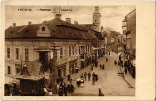 Ungvár, Uzshorod, Uzhorod; utca, templom, üzletek, kioszk, piac / street, shops, kiosk, church, market