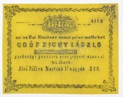 Alsó Pél 1849. 6kr gróf Zichy László Füredi féle hamisítványa T:II Hungary / Alsó Pél (Dolný Pial) 1849. 6 Kreuzer Count László Zichy Füredi type fake C:XF Adamo ALP-1.1.2
