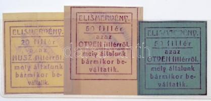 Sepsiszentgyörgy 1915-1916. 20f + 50f (2xklf) elismervények, mindhárom hátoldalán Klinger Henrik felülbélyegzéssel T:I-,II Sepsiszentgyörgy (Sfântu Gheorghe) 1915-1916. 20 Fillér + 50 Fillér (2xdiff) necessity notes, all three with Klinger Henrik overprint on back C:AU,XF  Adamo SEP-2.1; SEP-2.2; SEP-2.2.2
