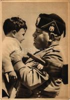 Benito Mussolini with child. Italian fascist propaganda. P. N. F. Gioventu Italiana del Littorio Comando Federale di Messina Befana Fascista + 1940 Triennale dOltremare Napoli So. Stpl. (EK)