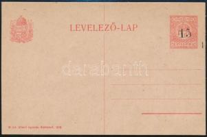 1918 Körmöcbányai provizórium, használatlan 15/10f felülnyomott díjjegyes levelezőlap (65.000) Signed Bodor