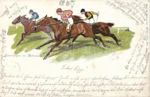 Horse-race, Walter Haertel No. 293. litho, Lóverseny, Walter Haertel No. 293. litho