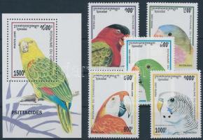 1995 Papagájok sor + blokk, Parrots set + block Mi 1514-1518 + Mi 213