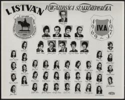1973 Budapest, I. István Közgazdasági Szakközépiskola tanárai és végzett növendékei, kistabló nevesített portrékkal, 24x30 cm