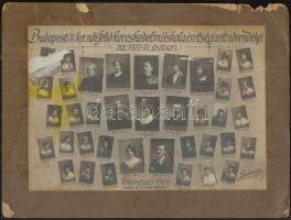 1921 Budapesti IX. ker. Női Felsőkereskedelmi Iskola tanárai és végzett növendékei, kistabló nevesített portrékkal, sérült, egy kép hiányos, 18,5x27 cm, karton 24x32,5 cm