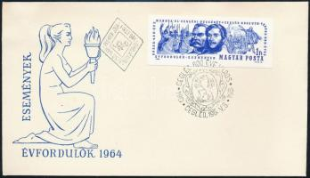 1964 Évfordulók (II.) Cegléd 600 éves vágott bélyeg FDC-n