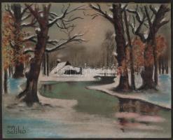 Művészeti; Balikó jelzéssel: Téli táj. Pasztell, karton, 24×30 cm