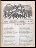 1874 az Üstökös (szerk.: Jókai Mór) 26. évfolyama, egybekötve, érdekes írásokkal, sérült vászonkötésben, jó állapotban, az első lapok foltosak, egyébként jó állapotban