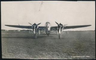 cca 1938 Breguet Br.690 típusú harci repülőgép, körbevágott fotólap, 8×13,5 cm / The Breguet 690 ground-attack aircraft, photo, damaged