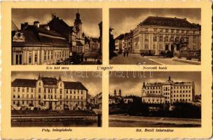 1941 Ungvár, Uzshorod, Uzhorod; Kishíd utca, Gyógyszertár, Nemzeti Bank, Polgári leány iskola, Szent Bazil internátus. Brogot kiadása / street view, pharmacy, bank, girls school, monastery