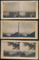 cca 1920 Budapesti hidak, látképek, 6 db sztereófotó, 8×17 cm