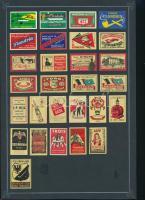 63 db belga gyufacímke 2 papírlapon reklám témában