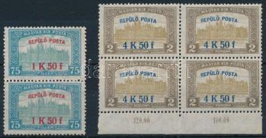 1918 Repülő posta 1K50f pár + 4K50f ívszéli négyestömb (45.000)