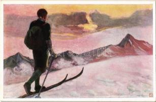 Wintersport / ski, winter sport art postcard. B.K.W.I. 232-3.