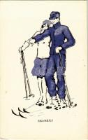 Ski-Heil! Wintersport / ski, winter sport art postcard. L.P. 104. Nr. 3.