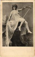 Nude lady with harp, vintage erotic postcard. Serie 82. (EK)