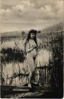 Vintage erotic nude lady. Künstler Akt-Studie (non PC) (wet damage)