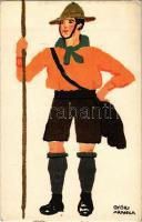 A fáradtságnak fittyet hányok: Diana sósborszeszt használok! Cserkész művészlap / Ungarische Werkstätte / Hungarian boy scout art postcard s: Győri Aranka