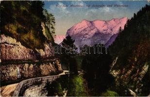 Berchtesgaden, Weg zum Mauthausl mit Reiteralpe und Watzmann / road to guesthouse, mountains