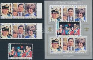 Prince Charles and Diana's wedding set + block, Diana és Károly herceg esküvője sor + blokk