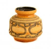 Jelzett retró váza, festett mázas kerámia, kopott, m: 13 cm