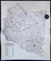 1926 Bátky-Kogutowitz: A Dunántúl települési térképe. 1:600 000. 44x55 cm
