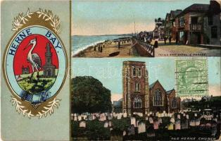 1908 Herne Bay, The Old Ship Hotel & Parade, Old Herne Church, coat of arms, golden decoration (worn corners)