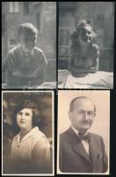 Régi portrék, 18 db vegyes portréfotó, 9×14 cm