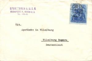 1938 Nyomtatvány Németországba. Szent István 4f bérmentesítéssel