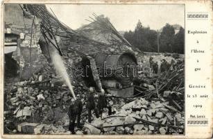 1909 Geneva, Geneve, Genf; Explosion a lUsine a gaz le 23 aout 1909. phot Lacroix / Explosion at the Gas Plant, firefighters (EK)