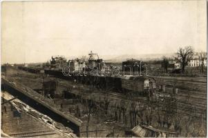 1918 Marasesti, Calea ferata Buzau-Marasesti / Bahnhof / railway station with trains, destroyed buildings. photo