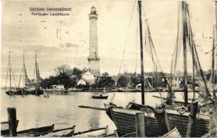 1913 Swinoujscie, Swinemünde; Partie am Leuchtturm / harbor, sailboats, lighthouse