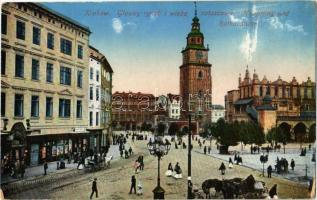 Kraków, Krakau, Krakkó; Glowny rynek i wieza ratuszowa / Hauptring und Rathausturm / main square, town hall tower (worn corners)