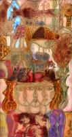 Fajka János (1935-): Gépek az emberekkel. Tűzzománc, fémlemez, jelzett, hibátlan állapotban, keretben 38×20 cm