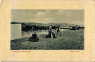 1912 Adony, Hajóállomás, DDSG uszály, fiú kerékpárral. W. L. (?) 699. (EB)