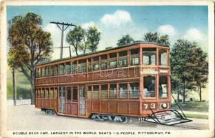 1920 Pittsburgh, Double deck car, largest in the world, seats 110 people, tram (worn corner)