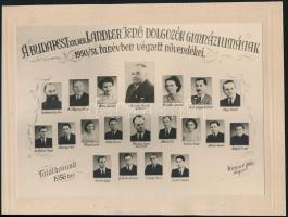 1951 Budapest, XIX. ker., Landler Jenő Dolgozók Gimnáziuma tanárai és végzett hallgatói, kistabló nevesített portrékkal, 16x23 cm