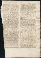 cca 1400-1500 Adam von Aldersbach (?-1260 k.) Summula sacramentorum Raymundi de Pennaforte metrificata című művének egy lapja (Unum conditum stb.), papír, a kötési oldala sérült, több kéztől származó lapszéli jegyzetekkel, rajzokkal, 2 p.