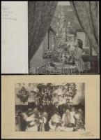cca 1935-1950 Karácsony este, 4 db vintage fotó, 13x9 cm és 17x14 cm közötti méretekben + cca 1950 Karácsony esték családi körben, 5 db vintage fotó, 9x14 cm és 17x17 cm között