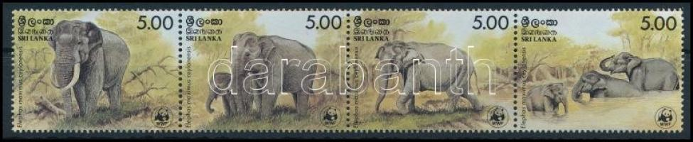 1986 WWF Elefántok négyescsík, WWF Elephants stripe of 4 Mi 753-756