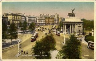 1935 London, Hyde Park Corner, double decker autobuses (EK)