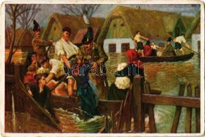 1935 M. Kir. Csendőrség: Árvíz. Kiadja a M. Kir. CSendőrség Emlékbizottsága, No. 4. / Hungarian gendarmerie art postcard s: Garay (fa)