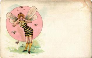 Méhecske hölgy / Bee lady, Art Nouveau. No. 2984. litho (EB)